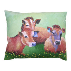 Roweboat Art Inc. - Cows In Buttercups, Painting Reproduction On Linen Pillow, 20x16 - Original art on linen fabric