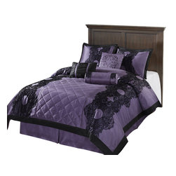 Victoria Down Alternative Comforter Set, Purple, California King - Comfort, quality and opulence sets our bedding's in a class above the rest. Elegant yet durable, their softness is enhanced with each washing. Note: this Comforter set includes a 1 Comforter, 1 Dust Ruffle, 2 Pillow Case. Available in a variety or color and size's.