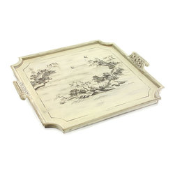 Montespan Tray - A garden party to celebrate the summer solstice. A holiday fete of good cheer. A simple gathering of cherished friends reveling in bonhomie. The Montespan Tray allows you to present your guests with an offering of hors d'oeuvres or aperitifs in inimitable style. The grey hand-painted scene on the tray bottom is inspired by appointments gracing the Pavillion de Porcelaine at Versailles.