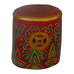 Golden Lotus - Tibetan Red Oval Flower Hand Painting Money Sign Wood Stool - This is a lotus hand painting Tibetan stools which is made of solid elm wood.  The stool top had flower painting on it and side has money coin designed.
