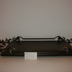 """Decorative serving trays - Decorative serving tray, approx 36"""" overall including the ornamental unique handle design, the tray area is approx  22"""" x 13"""" wide, the wood top, cut out of solid hardwood (Poplar) is stained  in a Walnut  finish and sealed with multiple coats of polyurethane to guarantte a long lasting finish....the iron work is in an antique gold....a great statement on a dining room table, buffet, or coffee table."""