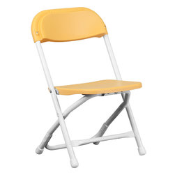 Flash Furniture - Flash Furniture Kids Yellow Plastic Folding Chair - Y-KID-YL-GG - Provide kids with seating that was specifically designed for them and can be stored away when no longer in use. This plastic folding chair will make an exciting addition to any classroom, daycare center or in the home. The lightweight design makes it ideal for the child to easily transport and setup for group activities, reading and other learning groupings. [Y-KID-YL-GG]  Folding Chair (1)