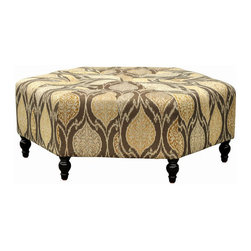 """Armen Living - Punjab Ottoman in alloy Fabric - Infuse eclectic style into your decor with the eye-catching Punjab Ottoman, showcasing a striking iKat fabric and classic silhouette.; 1.8 density fire retardant foam; Durable woven fabric; Solid wood feet; High quality construction; Some assembly required; Dimensions: 15""""H x 40""""W x 34""""D"""