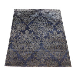 1800-Get-A-Rug - Damask Design Gray Modern Hand Knotted Rug Bamboo Silk Sh8677 - About Modern & Contemporary