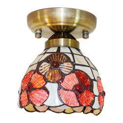 ParrotUncle - Tiffany Style Flower Stained Sea Shell Flush Mount - Tiffany Style Flower Stained Sea Shell Flush Mount