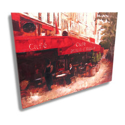Zeckos - French Sidewalk Cafe Canvas Wall Art Print Painting - This is a beautiful impressionist style canvas print depicting a quiet French sidewalk cafe that will decorate your walls in artistic style, and nothing can bring a more personal touch to a room than art, and at 23 1/2 inches high, 31 3/8 inches long and 1 1/8 inches deep, it's a unique accent that's sure to create an amazing effect in your living room, dining room, entryway or wherever your walls need a great work of art. Made of stretched canvas over a wood frame, this printed painting has textured effects to make it look like a hand-painted oil painting and has a papered lining on the back, and easily hangs on the wall using the two attached hangers on the back.