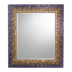 "Mosaic Mirror - Blue & Green (Handmade), 27"" X 21"", Vertical - MIRROR DESCRIPTION"