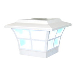 Classy Caps - Classy Caps Prestige Solar Post Cap - White - High Performance solar lights - stays lit for up to 12 hours