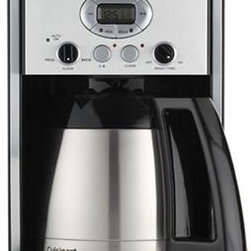 Cuisinart® 10 Cup Thermal Extreme Brew Coffee Maker - Ten-cup programmable coffee maker with re-engineered extreme brew technology delivers fresh coffee up to 25% faster — with the added benefit of brew pause to grab a quick cup. Strength control brews regular or bold; thermal carafe features a drip-free pour spout and comfortable handle. Water reservoir with water level display window lifts up for easy refilling. Sixty second reset recalls your setting in case of a power outage.