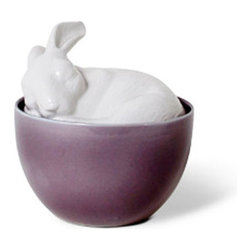 Sleepy Rabbit Container - Isn't he so sweet? This precious porcelain rabbit will slumber over your baubles. Tuck him into your bath for a touch of color on a peaceful organizer.