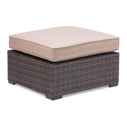 "Zuo - Bocagrande Outdoor Ottoman - The Bocagrande Ottoman is part of a transitional set with a low profile.  The brown synthetic weave is great for all types of weather conditions and the lightweight, but durable aluminum frame makes it easy to configure the pieces for any space.  The weaving features an ombre pattern giving a fresh spin on a classic set.  The overstuffed cushions are included and are comfy enough to enjoy long hours of visiting with friends or kicking back for an outdoor nap.  The ottoman is large enough to kick your feet up and add a serving tray with refreshing drinks.  The Bocagrande outdoor collection includes a corner chair, middle chair, ottoman and coffee table ""��_��__ each sold separately."