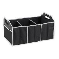 Picnic at Ascot - Collapsible Trunk Organizer in Black - Durable 3 section trunk organizer. Great for keeping sports gear, cleaning supplies and groceries organized. Mesh pocket for maps etc.. Foldable when not in use to maintain trunk space. Lifetime warranty. No assembly required. 7.75 in. L x 4 in. W x 11 in. H (0.4 lbs.)