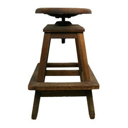 Used Industrial Rustic Wooden Stool - Vintage industrial wooden stool with character in its design. A cast iron dowel and fitting allow the seat to be adjusted to your liking.