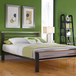 Oslo Platform Metal Bed - Modern, uncomplicated styling give this metal bed a look that is dramatic in its simplicity. A silver merlot finish creates a bold backdrop for bed linens of any color. Choose queen or king size.