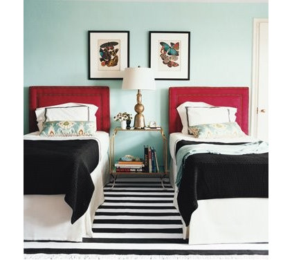 contemporary  Blue guest bedroom with red accents (Domino via House of Turquoise)
