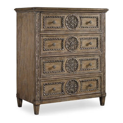 Hooker Furniture - Solana Tall Chest - White glove, in-home delivery included!  Luminous and fresh, Solana is a refined rustic, opulent yet casual collection that celebrates the look of natural wood bathed in sunshine.  Four drawers.