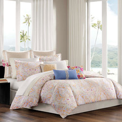 Echo - Echo Laila Comforter Set - Echo's Laila bedding collection offers an exotic collection of bright and pastel colors in an attractive paisley motif. The 300 thread count, cotton sateen comforter features a seafoam green base color while the paisley motif colors up the collection with a mixture of pink, blues, and orange hues. Although pastels make up the color scheme of most of this set, pops of bright orange and pink make a bold statement in the comforter and shams. Face: T300 100% cotton sateen fabric; Back: T180 100% cotton; 100% polyester filling. Bedskirt: 80/20 polyester/cotton fabric for the platform, T180 100% cotton solid fabric for the drop.