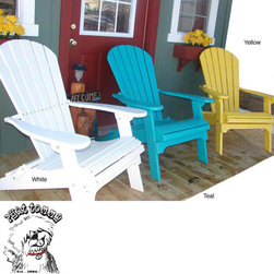 Phat Tommy - Forever Phat Tommy Recycled Folding Adirondack Chair - Enjoy maximum comfort and relaxation on your porch with this classic folding Adirondack chair. This chair is made from recycled plastic and features a contoured seat and back. This chair is available in yellow, white, and teal color options.