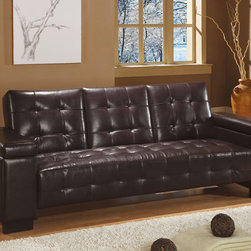 Coaster - Dark Brown Transitional Sofa Bed - Dark brown vinyl sofa bed constructed of a kiln dried hardwood frame, sinuous spring base and wood legs. Middle cushion drops to be used as a table or cup holder.