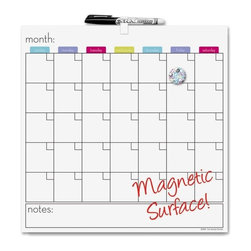 "The Board Dudes - The Board Dudes Magnetic Dry-Erase Calendar, Monthly, 14""x14"" - Magnetic, dry-erase calendar tile offers an undated month grid on its erasable surface. One-page-per-month format includes a place to fill in the name of the month, Sunday through Saturday scheduling, and unruled daily blocks each with a small block to write and rewrite the dates. Below the unframed calendar, an unruled notes area offers ample space for undated reminders. Metallic surface also doubles as a bulletin board so you can post messages and notes on days or the notes area. Unframed tile design allows the calendar to be combined with other calendar tiles or Board Dudes boards to decorate your cubicle. Calendar board includes a dry-erase marker, one button magnet with a swirl design, and mounting hardware."