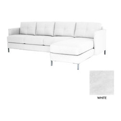 Apt2B - Fallbrook 2Pc Sectional, White - The Fallbrook Sectional adds some punch to your living room with it's sexy design and sleek metal legs.