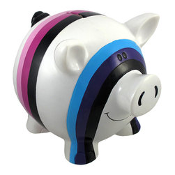 Zeckos - Contemporary Art Piggy Bank White with Stripes 8 In. - This children's coin bank is a new take on an old classic; a pig shaped bank with contemporary art designs that functions as a decorative accent as well as an aid in encouraging a saving habit. Made of cold cast resin, it measures 8 inches long, 6 inches tall, 5 1/2 inches wide, and it empties via a plastic plug on the bottom. This little piggy is hand painted, giving it a whimsical quality that is sure to be adored, and it makes a wonderful birthday or holiday gift.