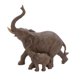 Benzara - Trumpeting Mother and Baby African Elephant Poly Stone Statue - Trumpeting mother and baby African elephant poly stone statue. Trumpeting mother and baby African elephant poly stone statue. Some assembly may be required.