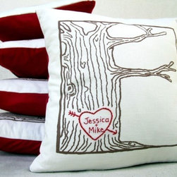 Custom Heart-Tree Print Pillow Cover By Cozyblue - How adorable is this custom heart tree print pillow? I definitely need this for my own home.