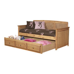 Chelsea Home - Twin Day Bed with Trundle Storage - Includes slat packs. Mattress not included. Rustic style. Solid wood with trend-loc ends for added strength. 4 in. lag blots are utilized to assemble parts with a recessed end for safety. Drawers with center mounted metal kenlin drawer glide system. Exceed the ASTM standard consumer safety specifications. Rounded edges for strong and safe youth furniture with Baltic birch plywood filler panels for smooth feel and finish. Can hold up to 400 lbs. of distributed weight. Warranty: One year. Made from solid ponderosa pine wood. Caramel finish. Made in USA. Assembly required. 81 in. L x 44.5 in. W x 43 in. H (180 lbs.)