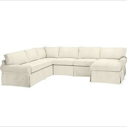 """PB Basic Left 4-Piece Chaise Sectional Slipcover, Twill Cream - Designed exclusively for our PB Basic Sectional, these easy-care slipcovers have a casual drape, retain their smooth fit, and remove easily for cleaning. Select """"Living Room"""" in our {{link path='http://potterybarn.icovia.com/icovia.aspx' class='popup' width='900' height='700'}}Room Planner{{/link}} to select a configuration that's ideal for your space. This item can also be customized with your choice of over {{link path='pages/popups/fab_leather_popup.html' class='popup' width='720' height='800'}}80 custom fabrics and colors{{/link}}. For details and pricing on custom fabrics, please call us at 1.800.840.3658 or click Live Help. All slipcover fabrics are hand selected for softness, quality and durability. {{link path='pages/popups/sectionalsheet.html' class='popup' width='720' height='800'}}Left-arm or right-arm configuration{{/link}} is determined by the location of the arm on the love seat as you face the piece. This is a special-order item and ships directly from the manufacturer. To view our order and return policy, click on the Shipping Info tab above."""