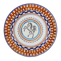 Artistica - Hand Made in Italy - PALIO DI SIENA: LIOCORNO (Unicorn) Charger - The ''Palio di Siena'' is a tournament as a replica of a medieval horse race which is ran twice year, during the summer season, in the city of Siena, located in the beautiful Tuscany region.