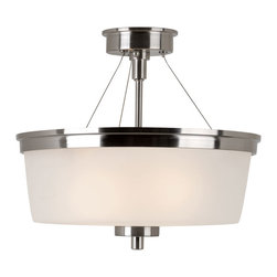 Trans Globe - Urban Swag Semi Flushmount - Urban Swag Semi Flush Mount Ceiling features White glass with Brushed Nickel finish.  Available in a flush ceiling, semi-flush ceiling, pendant, chandelier, wall sconce and bath bar version.  Two 60 watt 120 volt A19 incandescent lamps not included.  12 inch diameter x 14 inches high.