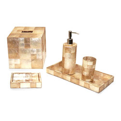 Capiz Bath Collection - 6 piece Shimmering Squares - Blocks of different sized squares cover the inside and out of this elegant collection of vanity necessities crafted in gorgeous golden capiz shell from the Philippines. Made from responsibly-sourced ocean shells, the set includes a sleek gold-topped soap pump, a square tissue box cover, and more so you can coordinate your bathroom to elegant uptown perfection.
