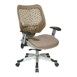 Office Star - Space Seating 86 REVV Series Unique Self Adjusting Latte SpaceFlex Back & Raven - Unique Self Adjusting Latte SpaceFlex  Back Managers Chair. Self adjusting SpaceFlex  Backrest Support System with Breathable Latte Mesh Seat, One Touch Pneumatic Seat Height Adjustment, Self Adjusting 4 to 1 Synchro Tilt Control with 3 Position Lock and Anti-Kick Function, Tilt Tension Adjustment, Height Adjustable Platinum Coated Arms with Soft PU Pads, Heavy Duty Platinum Coated Base with Black End Caps and Dual Wheel Carpet Casters.