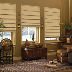 Blindsgalore® Designer Roman Shades: Linen Texture - These elegant and high quality Roman shades are the perfect solution for those who love the softness and presence of fabric drapes and practicality and functionality of pull-down shades.  Blindsgalore offers our Designer Roman Shades in 8 colors, 4 lift options, 4 different liner options and four shade options.
