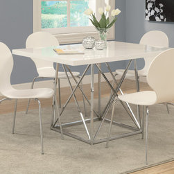 Monarch Specialties - Monarch Specialties 1046 5 Piece Rectangular Dining Room Set w/ Chair in White - Create a trendy contemporary look with this glossy white 36 x 48 diameter dining table. This piece features a sleek chrome metal  base and a smooth surface ideal for dining  drinks and tapas. This table is great for dining and entertaining guests especially in smaller spaces.
