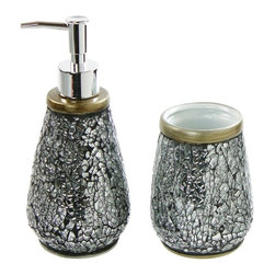 Gedy - 2 Piece Ceramic Bathroom Accessory Set - This bathroom accessory set is made of ceramic, glass and stainless steel.