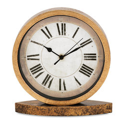 IMAX Imports - Mcoy Clock - Good time: Round metal clock combines antique gold and bronze finishes with a retro face and Roman numerals to mark the hours.
