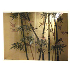 "n/a - Modern Chinese Wall Hanging Hand Painted Bamboo On Gold Leaf, 48"" W X 36"" High - Contemporary Chinese Wall Hanging is hand painted in an Asian bamboo and wild bird design on rich gold leaf background. Set of four lacquer panels with brass hangers are available in two sizes. Real gold leaf (not gold paint) is hand applied to these wooden panels and hand painted in olive and forest green lacquers. A clear lacquer top coat is used to protect and seal the gold leaf. These wall plaques are light and easy to hang. Use above a cabinet, even as a headboard. They can even be spaced to allow the background wall to show. The gold leaf and its reflective quality make a dazzling show piece to enhance any room.  Purchase now, supplies on quality hand made imports are limited."
