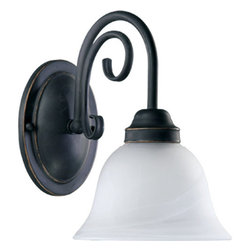"""Quorum International - Quorum International 5402-1-195 Single Light 7"""" Wide Bathroom Fixture - Single light up lighting bathroom fixture featuring Faux Alabaster GlassRequires 1 100w Medium Bulb (Not Included)UL listed for Damp locations"""