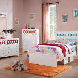 "Coaster - Madeline 5Pc Twin Bed Set, White/Red/Orange/Blue - The Madeline youth collection will help you create a bright and airy look in the youth bedroom in your home. Colorful top panels against the matte white finish on each piece helps to create a fun space to sleep, play or relax. Spacious storage in each piece make this a functional group too, completed with simple silver knobs for a timeless style. For a fun space that everyone will love, add the Madeline youth collection to your home.; Set includes Bed, Nightstand, Dresser, Mirror and Chest; Transitional Style; Finish/Color: White/Red/Orange/Blue; Box Spring/Foundation Required; Dimensions: Bed: 81""L x 43""W x 43""H; Nightstand: 20""L x 15.75""W x 24""H; Dresser: 54""L x 17.75""W x 32""H; Mirror: 34""L x 2""W x 40.50""H; Chest: 32""L x 15.75""W x 48""H"