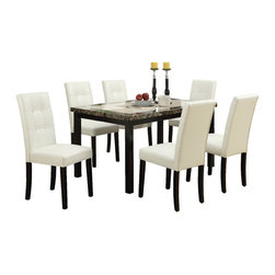 Adarn Inc. - 7 PC Two Tone Espresso Dining Set Marble Look Table Top Leatherette Tufted Chair - The lap of luxury is delivered with this two-toned marble-look finished tabletop dining room table. It includes seating for six and a bold frame in dark brown or Cream.