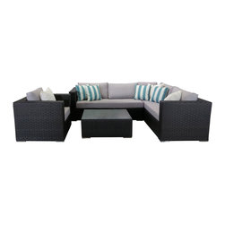 Su-zanne - Newport OUTDOOR Wicker Sectional Sofa Set - Stylish comfort all weather resin wide wicker sectional, 5 seater, deep seated, with chrome feet and wide arms for leisure relaxing. Includes sectional sofa, coffee table with glass and club chair, 4 cream accent pillows, 4 stripped accent teal pillows.