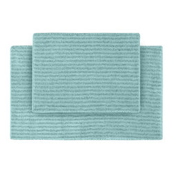 None - Xavier Stripe Sea Foam Bath Rugs (Set of 2) - Enjoy the plush feel of the Xavier Stripe bath and spa collection, while adding a classic note of design and color. These two aqua blue rugs are created from durable, machine-washable nylon and feature non-skid latex backing for safety.