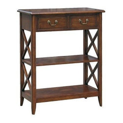 Wayborn - Eiffel Console Table - 2 Drawers. 2 Shelves. Made from Birchwood. Smooth finish. 10 in. shelf clearance. 29.5 in. L x 13.5 in. W x 35.5 in. H (44 lbs.)