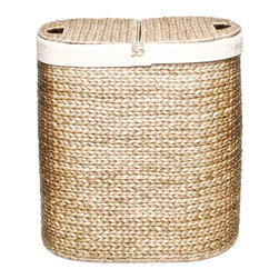 Seville Classics - Seville Classics Hand-woven Oval Hyacinth Double Hamper - This beautiful Seville Classics hamper is where functionality meets style. Make this a permanent fixture in your bathroom or bedroom to separate your lights and darks and make your life a little easier.