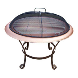 Oakland Living - 30 in. Round Fire Pit w Grill in Antique Bronze and Copper - Made of Durable Cast Iron Construction. Fire pits can fit three to five logs or use charcoal for grilling. Easy to follow assembly instructions and product care information. Stainless steel or brass assembly hardware. Fade, chip and crack resistant. 1 year limited. Hardened powder coat finish in Antique Bronze and Copper for years of beauty. Antique Bronze and Copper finish. Some assembly required. 30 in. W x 30 in. L x 25 in. H (40 lbs.)This Chimenea fire pit will be a beautiful addition to your patio, back yard or outdoor entertainment area. Adds beauty, style and functionality. Our Chimenea fire pits are perfect for any small space, or to accent a larger space.