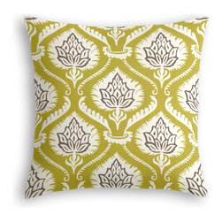 Lime Artichoke Custom Throw Pillow - The every-style accent pillow: this Simple Throw Pillow works in any space.  Perfectly cut to be extra fluffy, you'll not only love admiring it from afar but snuggling up to it too!  We love it in this preppy modern print of lime green & gray artichokes and damask-like scrolls.