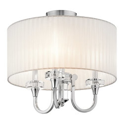 KICHLER - KICHLER 42630CH Parker Point Convertible Semi-Flush Mount / Pendant Light - Fabric, crystal and polished chrome come together to give the Parker Point Collection its soft, elegant style. Crystal touches embellish the center column, bobeches and pendalogues and come alive when the fixture's illuminated. Organza fabric overlays the inner shades, creating a dressy, layered look.