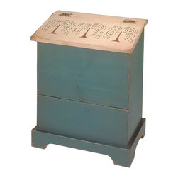 """Renovators Supply - Storage Bins Green/Natural Wood Single Storage Bin 25.5 H x 20 W - Hand-stenciled, hand-dressed to look like those found in an old general store.  With one 16 qt. plastic bin.  The back is perforated for ventilation. Single-size is 25 1/2"""" high, 20"""" wide and 13"""" deep."""